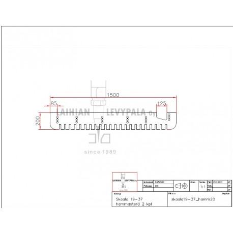 Skaala 19-37 hammasterät 20x1500x200 HB500 2 kpl